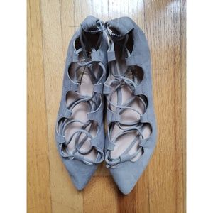 Anthropologie Billy Ella Lace Up Gray Suede Flats